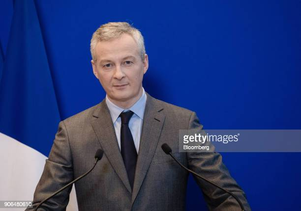 Bruno Le Maire Frances finance minister pauses during a news conference at the Ministry of Finance in Paris France on Thursday Jan 18 2018 German...