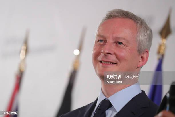 Bruno Le Maire France's finance minister reacts at the German Foundation of Family Businesses conference in Berlin Germany on Friday June 8 2018...