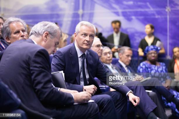 Bruno Le Maire France's finance minister sits before delivering remarks during the 75th anniversary of the Bretton Woods system of monetary...