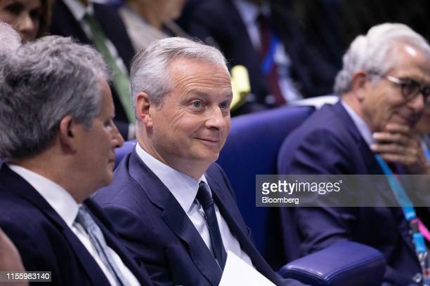 Bruno Le Maire France's finance minister sits during the 75th anniversary of the Bretton Woods system of monetary management in Paris France on...