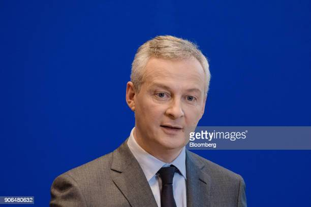 Bruno Le Maire Frances finance minister speaks during a news conference at the Ministry of Finance in Paris France on Thursday Jan 18 2018 German...