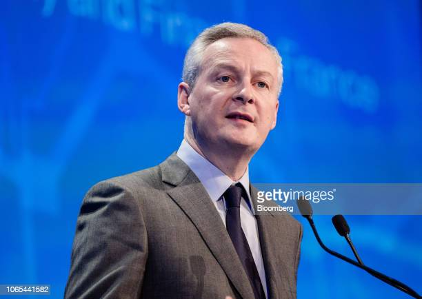 Bruno Le Maire France's finance minister speaks during Climate Finance Day in Paris France on Monday Nov 26 2018 A group of 28 banks with combined...