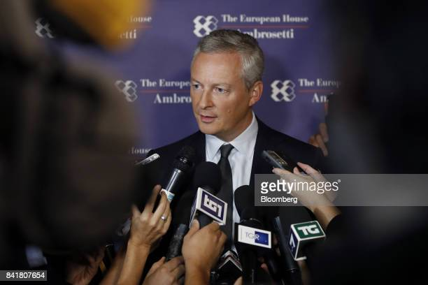 Bruno Le Maire France's finance minister speaks to members of the media during the Ambrosetti Forum in Cernobbio Italy on Saturday Sept 2 2017 Policy...