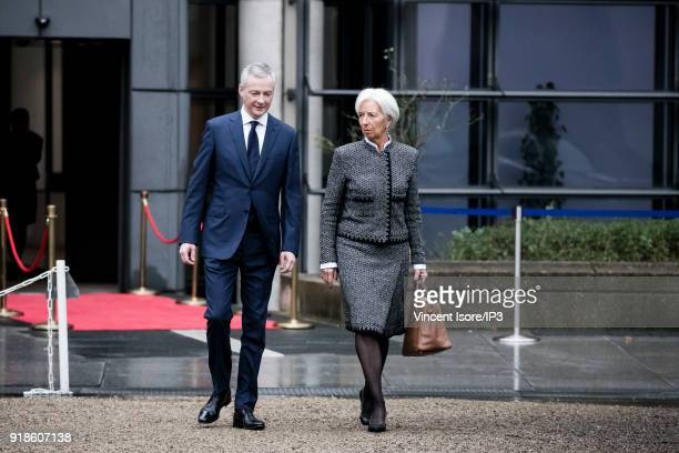 Bruno Le Maire French minister for economic affairs and finance and Christine Lagarde IMF director participate in the conference Transforming the...