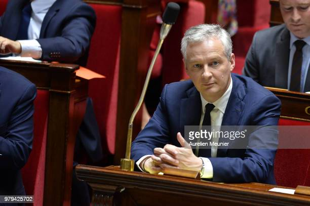 Bruno Le Maire French Minister of Economy and Finance reacts as ministers answer deputies during the weekly session of questions to the government at...