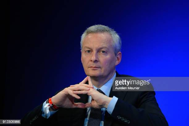 Bruno Le Maire French Minister of Economy visits The Fintech Forum at Palais Brogniart on January 30 2018 in Paris France The Paris Finetech Forum...