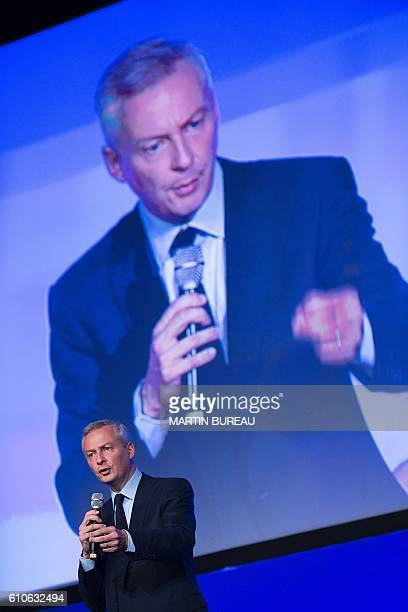 Bruno Le Maire, French right-wing Les Republicains candidate for the LR party primaries ahead of the 2017 presidential election, speaks during the...