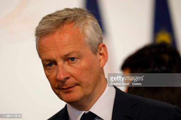Bruno le Maire Mayor of The Ministry of Economy and Finance during China Europe meeting at the Elysee Palace on March 26 2019 in Paris France