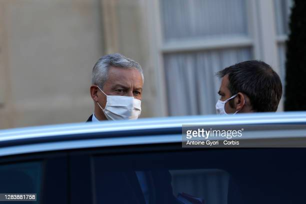 Bruno Le Maire, Minister of the Economy, Finance and Recovery leaves the Council of Ministers at the end of the weekly cabinet meeting at Elysee...