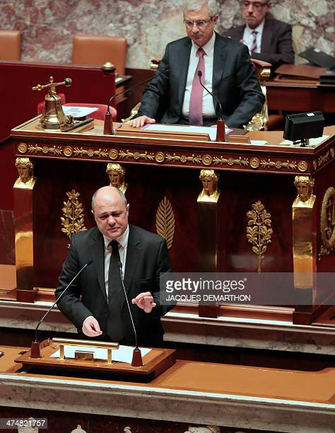 "Bruno Le Roux, president of the SRC speaks during a debate on the extention of the ""Operation Sangaris"" military deployment in the Central African..."
