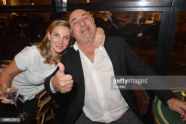 Bruno Mangel from L Aventure and a guest attend the 'Prix De Flore 2015 ' Literary Prize Winner Announcement at Cafe de Flore on November 10 2015 in...