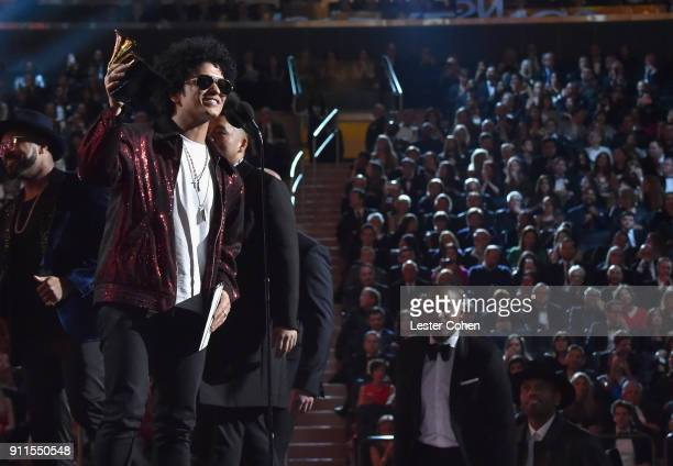 Bruno Mars accepts the 'Song of the Year' award onstage during the 60th Annual GRAMMY Awards at Madison Square Garden on January 28 2018 in New York...