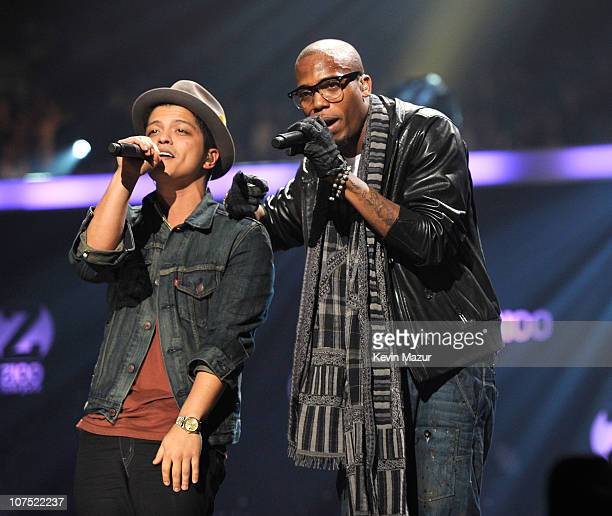 Bruno Mars and BOB performs onstage during Z100's Jingle Ball 2010 presented by HM at Madison Square Garden on December 10 2010 in New York City
