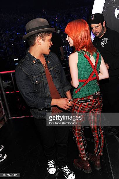Bruno Mars and Hayley Williams attend Z100's Jingle Ball 2010 presented by HM at Madison Square Garden on December 10 2010 in New York City