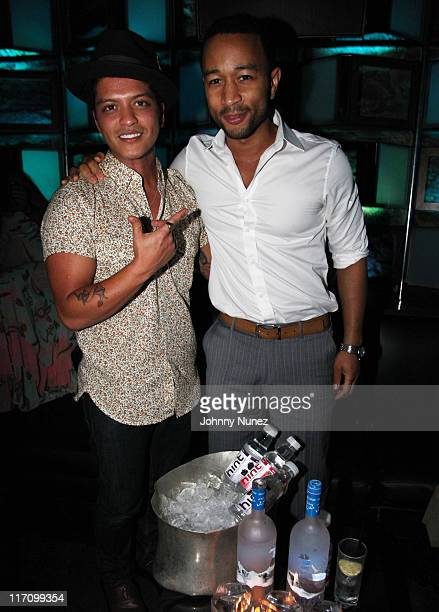 Bruno Mars and John Legend attend the Sade John Legend concert after party at SL on June 21 2011 in New York City
