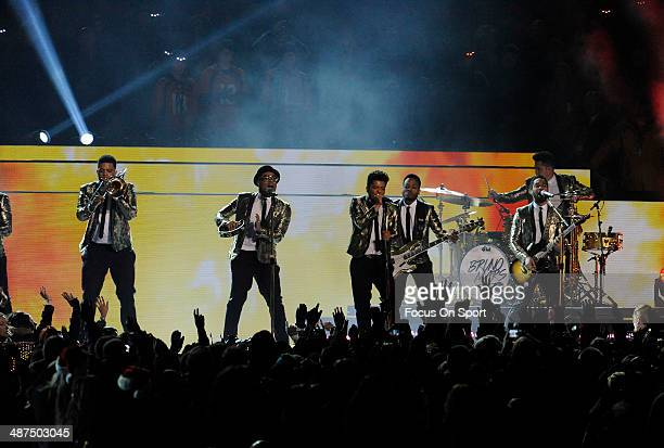 Bruno Mars and Red Hot Chili Peppers performs during the Halftime Show during Super Bowl XLVIII between the Seattle Seahawks and Denver Broncos on...