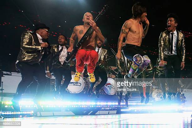 Bruno Mars and the Red Hot Chili Peppers perform during the Pepsi Super Bowl XLVIII Halftime Show at MetLife Stadium on February 2 2014 in East...