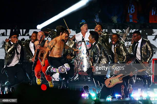 Bruno Mars and the Red Hot Chili Peppers performB during the Pepsi Super Bowl XLVIII Halftime Show at MetLife Stadium on February 2 2014 in East...