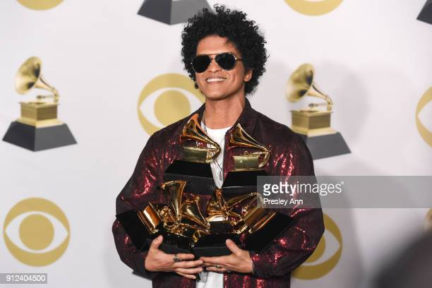 Bruno Mars attends 60th Annual GRAMMY Awards Press Room at Madison Square Garden on January 28 2018 in New York City