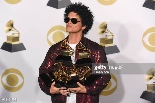 Bruno Mars attends 60th Annual GRAMMY Awards - Press Room at Madison Square Garden on January 28, 2018 in New York City.