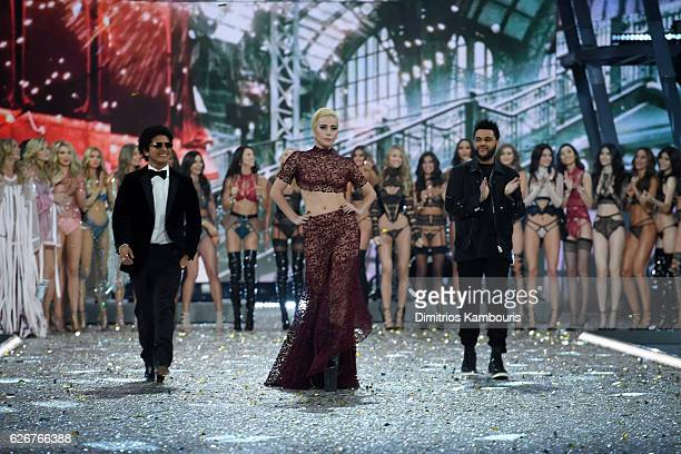 Bruno Mars Lady Gaga The Weeknd and Victoria's Secret Models walk the runway during the 2016 Victoria's Secret Fashion Show on November 30 2016 in...