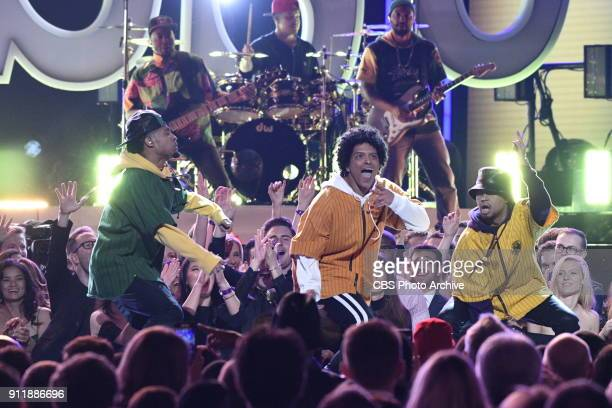 Bruno Mars performing at THE 60TH ANNUAL GRAMMY AWARDS broadcast live on both coasts from New York Citys Madison Square Garden on Sunday Jan 28 at a...