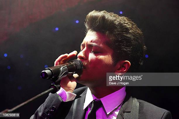 Bruno Mars performs at a record release party for Bruno Mars' new album 'DooWops and Hooligans' released on October 4th 2010 held at Cafe De Paris on...