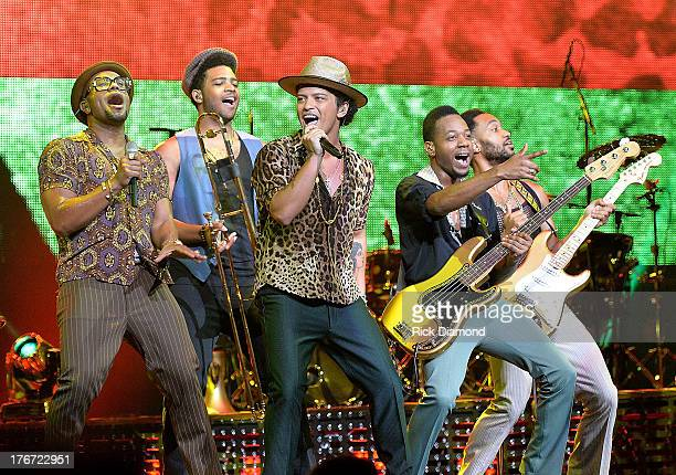 Bruno Mars performs at Bridgestone Arena on August 17 2013 in Nashville Tennessee