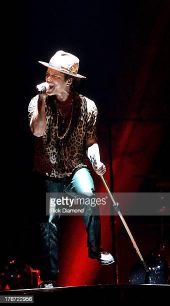 Bruno Mars performs at Bridgestone Arena on August 17 2013 in Nashville Tennessee