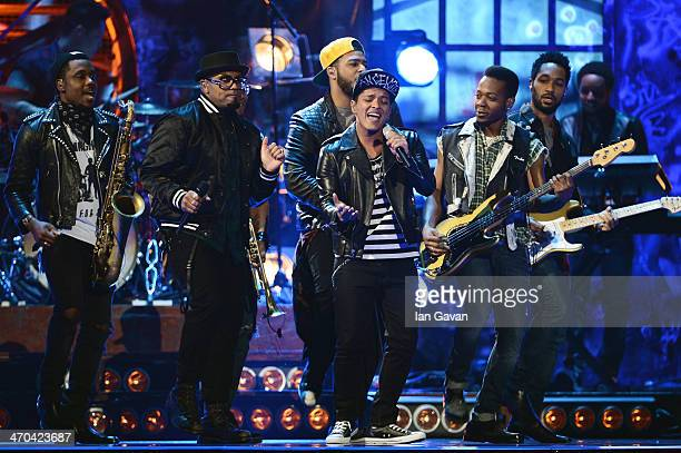 Bruno Mars performs at The BRIT Awards 2014 at 02 Arena on February 19 2014 in London England