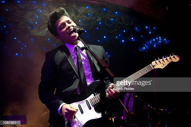 Bruno Mars performs at the launch of his debut album 'DooWops Hooligans' at Cafe de Paris on January 24 2011 in London England