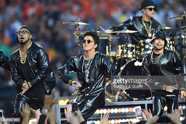 Bruno Mars performs during Super Bowl 50 between the Carolina Panthers and the Denver Broncos at Levi's Stadium in Santa Clara California February 7...