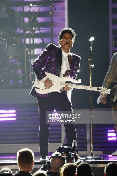 Bruno Mars performs during THE 59TH ANNUAL GRAMMY AWARDS broadcast live from the STAPLES Center in Los Angeles Sunday Feb 12 on the CBS Television...