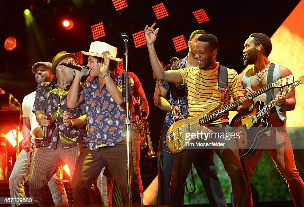 Bruno Mars performs during the UCSF Concert For Kids at Civic Center Plaza on October 14 2014 in San Francisco California