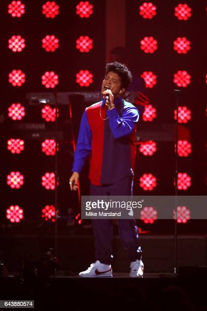 Bruno Mars performs on stage at The BRIT Awards 2017 at The O2 Arena on February 22 2017 in London England