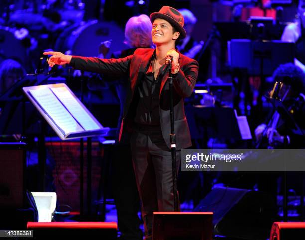 Bruno Mars performs on stage at the Revlon concert for the Rainforest Fund at Carnegie Hall on April 3 2012 in New York City