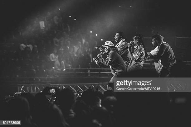 Bruno Mars performs on stage during the MTV Europe Music Awards 2016 on November 6 2016 in Rotterdam Netherlands