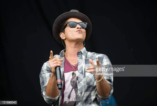 Bruno Mars performs on the Main Stage on day 1 of the V Festival at Hylands Park on August 20 2011 in Chelmsford England