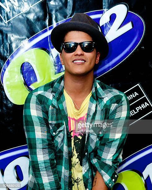 Bruno Mars poses at radio station Q102's Studio Q on September 25 2010 in Philadelphia Pennsylvania