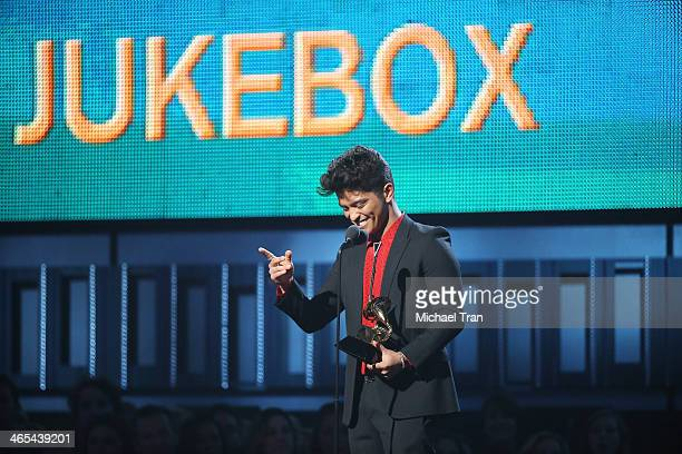 Bruno Mars speaks onstage during the 56th GRAMMY Awards held at Staples Center on January 26 2014 in Los Angeles California