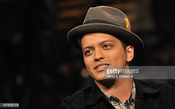Bruno Mars tapes a Fuse episode for Z100's Jingle Ball at fuse Studios on December 9, 2010 in New York City.