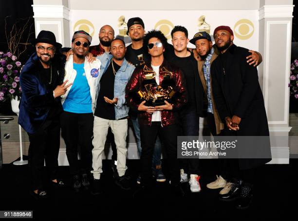 Bruno Mars wins the Grammy for Record of the Year at THE 60TH ANNUAL GRAMMY AWARDS broadcast live on both coasts from New York City's Madison Square...