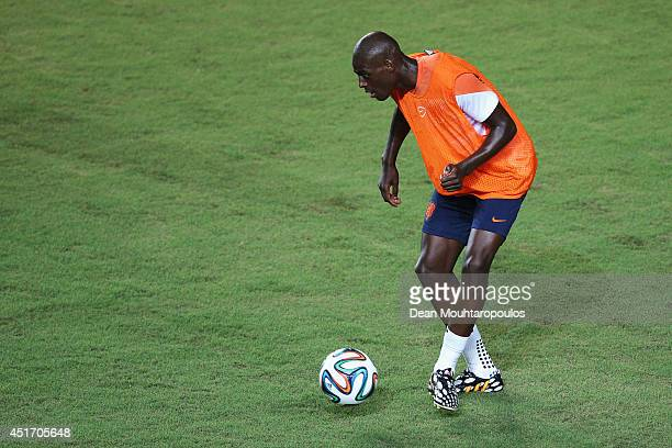 Bruno Martins Indi in action during the Netherlands training session ahead of the 2014 FIFA World Cup quarter final match between the Netherlands and...