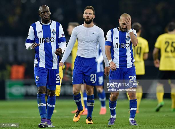 Bruno Martins Indi Miguel Layun and Andre Andre of FC Porto show their dejection after their 02 defeat in the UEFA Europa League round of 32 first...