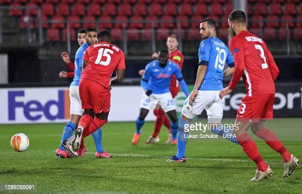 Bruno Martins Indi of Alkmaar Zaanstreek scores their team's first goal during the UEFA Europa League Group F stage match between AZ Alkmaar and SSC...