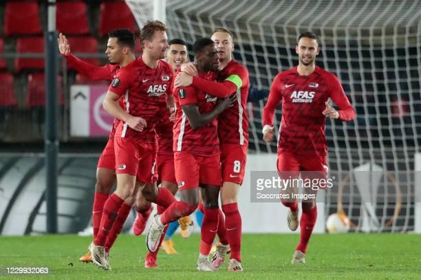 Bruno Martins Indi of AZ Alkmaar Celebrates 1-1 with Zakaria Aboukhlal of AZ Alkmaar, Dani de Wit of AZ Alkmaar, Pantelis Hatzidiakos of AZ Alkmaar,...