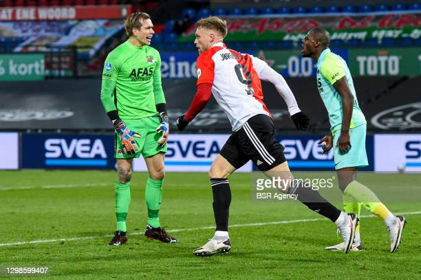 Bruno Martins Indi of AZ disappointed after goal, Nicolai Jorgensen of Feyenoord celebrating the first goal of his team during the Dutch Eredivisie...