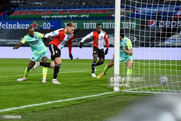 Bruno Martins Indi of AZ, Nicolai Jorgensen of Feyenoord scoring the first goal of his team during the Dutch Eredivisie match between Feyenoord and...