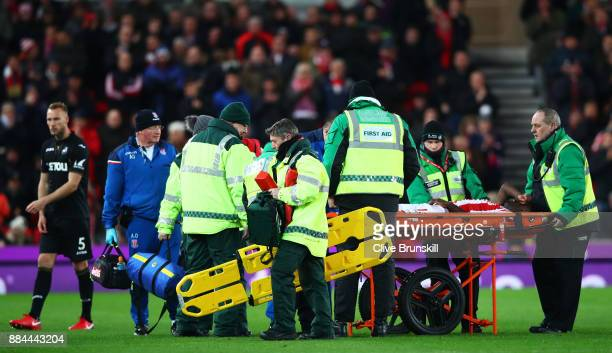 Bruno Martins Indi of Stoke City goes off on a stretcher during the Premier League match between Stoke City and Swansea City at Bet365 Stadium on...