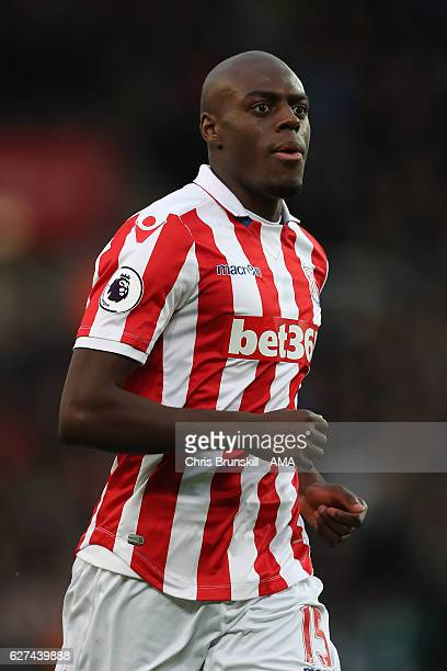 Bruno Martins Indi of Stoke City in action during the Barclays Premier League match between Stoke City and Burnley at Bet365 Stadium on December 3...